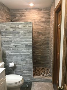 Remodel Bathroom with walkin shower no glass doors, we Love it! Small Bathroom With Shower, Master Bathroom Shower, Bathroom Design Small, Bathroom Renos, Bathroom Interior Design, Rustic Bathroom Shower, Remodel Bathroom, Small Walkin Shower, Small Bathroom Ideas