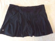 Lululemon Running Skort Skirt 8 Womens Black Pleated Solid Zipper Pocket Shorts #Lululemon #Shorts