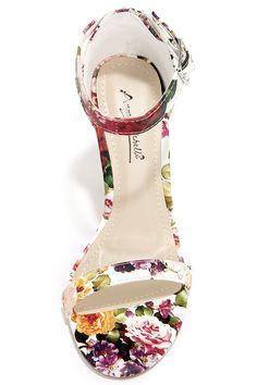 Anne Michelle Enzo 01Y White Floral Print Single Strap Heels at Lulus.com!