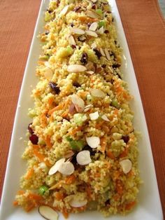 Confetti Couscous Many years ago I was looking for a recipe to serve along side grilled shrimp. After searching through tons of magazines I found this re. Vegetarian Recipes, Cooking Recipes, Healthy Recipes, Coucous Salad, Couscous Salad Recipes, Pasta Salad, Quinoa, Side Dish Recipes, Kabobs