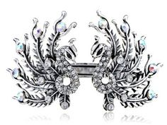 Antique Inspired Opulent Crystal Rhinestone Twin Peacock Bird Cuff Bracelet buy today at mariescrystals.com