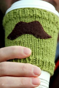 Mustache cup cozy tutorial - used this for my gift exchange item.