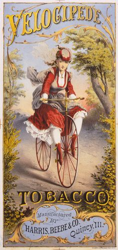 Bicycles and Cigarettes, popular back at the beginning of the bicycle boom in the 1870's - Velocipede Tobacco 1874.