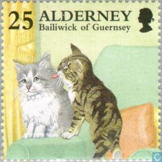 Stamp: Tabby grooming Blue and White Cat (Felis silvestris catus) (Alderney) (Cats) Mi:GG-AL 91 Postage Stamp Art, Vintage Stamps, Penny Black, Fauna, Stamp Collecting, Cat Art, Pet Birds, Cat Things, Guernsey