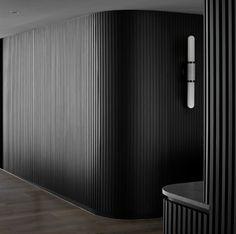 Wardrobe Interior Design, Home Interior Design, Wall Cladding Designs, Timber Wall Panels, Lobby Interior, Curved Walls, Wall Treatments, Modern Wall, Wall Sconces
