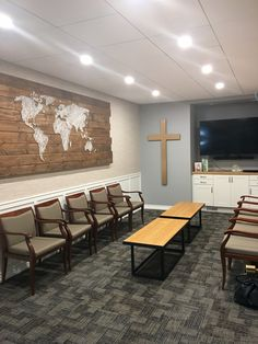 World string art. Designed by Cross-Country Builders Country Builders, Home Builders, Narrow Coffee Table, Ikea Cabinets, Prayer Room, Custom Wall, String Art, Cross Country, Wallpaper