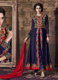 Achkan Style Blue with Butta Work Astounding Unstitched Salwar Kameez