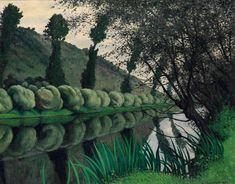 Félix Vallotton-La Seine bordered by Willows, Tournedos 1922 oil on canvas (Christie's)