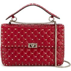 Valentino Garavani Rockstud Spike shoulder bag ($2,870) ❤ liked on Polyvore featuring bags, handbags, shoulder bags, red, red leather handbags, valentino shoulder bag, leather purses, genuine leather handbags and top handle handbags