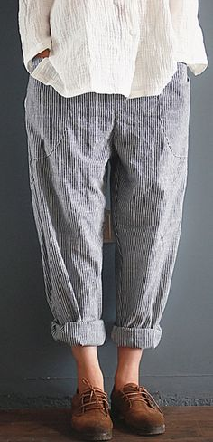 49% OFF! US$44.48 Casual Stripe Loose Elastic Waist Women Pants With Pockets. SHOP NOW!