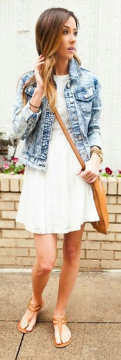 Denim Jacket And Eyelet Dress Streetstyle by Sequins & Things
