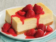 This easy cheesecake is best with fresh strawberries.