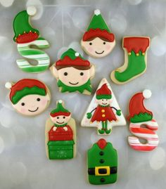 Decorated Elf Cookies with Artfully Delicious {Guest Post} using diff cookie cutters