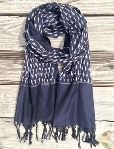 Classic Blue Ikat Scarf from Passion Lilie