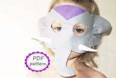 PDF PATTERN Elephant felt mask  DIY zoo animal mask by FeltFamily, $4.00