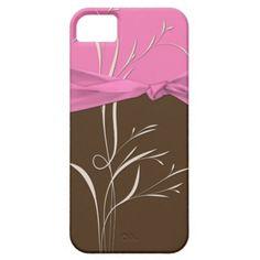 Girly Pink Brown Pink Ribbon Ivory Swirls