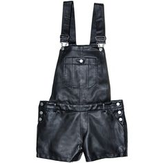 Faux Leather Overalls ❤ liked on Polyvore featuring shorts, bottoms, overalls, jumpsuit and leather