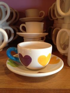 Heart Cup & saucer made at Dish It Out