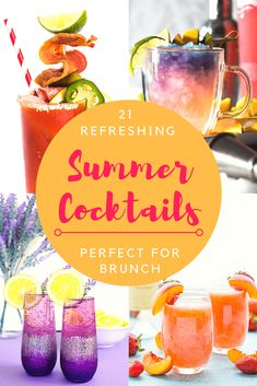 Summer has arrived, and with it comes all kinds of fun dining opportunities! Wake up a little early for a fresh, delicious weekday brunch before the sun gets too high and the temps too hot! Here are 21 Refreshing Summer Cocktails Perfect for Brunch! Refreshing Summer Cocktails, Fun Cocktails, Summer Drinks, Fun Drinks, Liquor Drinks, Beverages, Easy Drink Recipes, Brunch Recipes, Cocktail Recipes