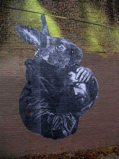 Rabbit and St. John (Gaia street art)