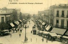 Vistas del actual Paseo de Almería y Puerta Purchena (1930) Spain Holidays, Andalusia, Seville, Spain Travel, Malaga, Granada, Best Hotels, Trip Planning, Street View