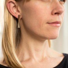 Long Post Bar Earring  Wooden Minimalist Modern by birdofvirtue
