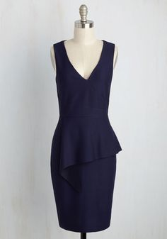 Perky Presentation Dress - Blue, Solid, Work, Sheath, Sleeveless, Summer, Knit, Mid-length, Daytime Party, Pinup, Vintage Inspired, 40s, Better, Girls Night Out, Cocktail