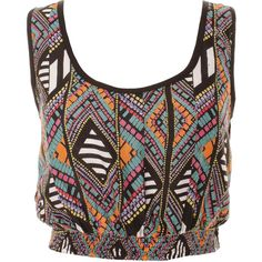 Multi Aztec Print Elasticated Cropped Vest ($19) ❤ liked on Polyvore featuring tops, shirts, crop tops, tank tops, shirt tops, vest shirt, aztec pattern shirt, shirt crop top and aztec crop top
