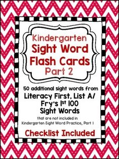 Freebie!!  Literacy First List A words not included in the Kindergarten 50 sight words - Checklist also!