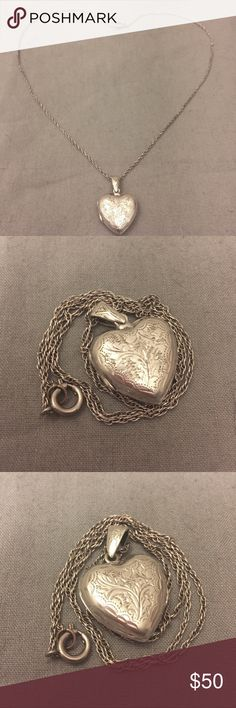 """Vintage SIAM Sterling Heart Locket necklace. Vintage heart locket. The inside is marked JG Siam. This locket is beautiful and was made in SIAM before 1939. Up until 1939, sterling silver jewelry pieces from this area were marked """"Siam"""" In 1939, the country changed it's name to - Thailand and then the silver pieces had markings such as """"Made in Thailand"""" """"Thailand 925"""" & """"Thailand Sterling Silver"""". This locket is sold in as is vintage condition. Please see pictures for details. Vintage…"""