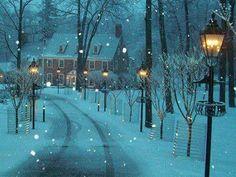 Snowy Lane, New Hope, Pennsylvania  (looks like a Thomas Kincaid painting!)