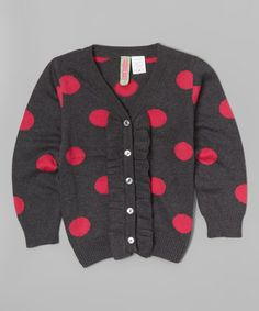 Another great find on #zulily! Charcoal & Fuchsia Dot Cardigan - Toddler & Girls #zulilyfinds