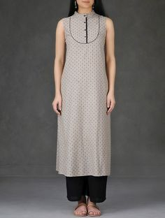Buy Beige Black Mandarin Collar Cotton Chambray Dobby Kurta Online at Jaypore.com