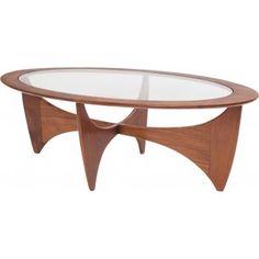 "Table basse ovale ""Astro"" en teck et verre - 1960"