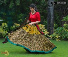 Yellow And Red Cotton Printed Lehenga Choli  #NAvratriSpecial #YellowLehenga