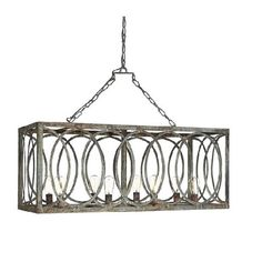 This fixture was placed above the kitchen table in one of Southern Living's idea homes- so you know it's fabulous. This fixture is handmade out of aged iron by a family owned business in GA. It has in