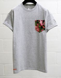 Men's Pink Cerisse Floral Pattern Grey Pocket T-Shirt, Men's T- Shirt, Pocket tee, Unisex, Menswear, UK