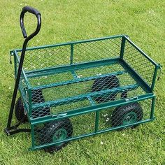 Xl garden cart truck trolley 4 wheel wheelbarrow trailer heavy