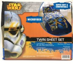 Star Wars Sheet Set Twin Rebels Fight Set Lucas Films Disney New Lucas Film Star Wars Rebels  Fight  Sheet Set Soft microfiber sheet set Rotary print with character favorites from the hit TV series Star Wars Rebels. Chopper, Ezra, and Zeb all are present in a sharp and bold orange and blue colors Pillowcase, fitted and flat sheet. Product Dimensions: 39 x 75 x 1 inches 2 pounds Domestic Shipping Microfiber Machine Washable Vibrant printed design 3 piece setNew, purchased for resale by…