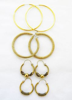 Lot 4 Pair Vintage Hoop Stud Pierced Earrings Gold Tone Boho Chic #Hoop