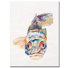 'Blue Fish' by Pat Saunders Framed Painting Print on Wrapped Canvas