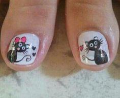 Colorful Nail Designs, Toe Nail Designs, Nail Polish Designs, Valentine Nail Art, Holiday Nail Art, Cat Nail Art, Cute Pedicures, Pretty Toe Nails, Pedicure Nail Art