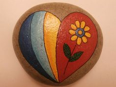 Painted rock Heart by PlaceForYou