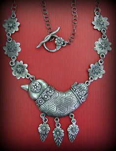 "Lorena Augulo.  ""Folk Bird"".  Silver, Precious Metal Clay Metal Clay Jewelry, Bird Jewelry, Jewelry Art, Jewelery, Jewelry Design, Necklace For Neckline, Precious Metal Clay, Necklace For Girlfriend, Bird Necklace"