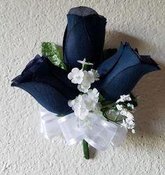 Navy Blue Rose Bud Baby's Breath by bridalweddingbouquet on Etsy