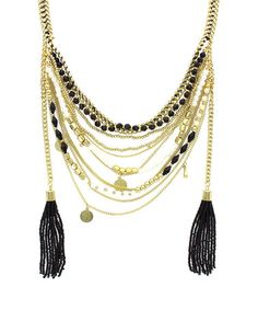 This Gold & Black Seed Bead Tassel Necklace is perfect! #zulilyfinds