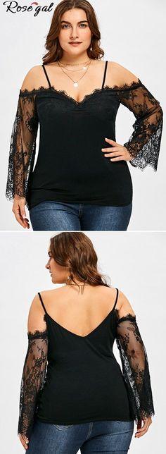 Plus size lace trim bell sleeve blouse blusas blusas elegant Trendy Fashion, Plus Size Fashion, Womens Fashion, Fashion Ideas, Bell Sleeve Blouse, Bell Sleeves, Moda Zara, Chelsea, Girls Blouse