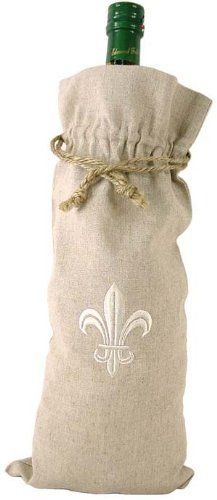 Fleur de Lis Fabric and Embroidered Wine Bottle Bag or Gift Bag, Beige Oatmeal by DZ. $6.99. Machine washable. Closes with a drawstring at the top. 7 by 15 inches in cotton. For wine, but also for other items or gifts. Linen feel, but it's cotton. Embroidered with the traditional French symbol for Royalty, the Fleur de Lis. Use for a wine bottle, but also for travel, for laundry, for storing bread (a Baguette comes to mind).