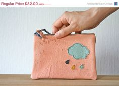Handmade leather pouch Cloud in front