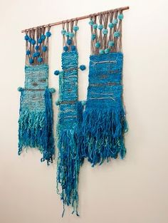 Beautiful blue woven wall hanging
